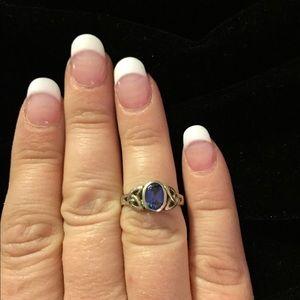 925 Silver Blue Celtic Design Ring
